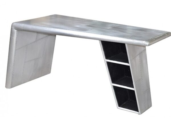 Aluminum desk with shelves