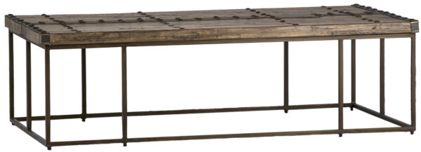 reclaimed wood coffee table with nail head details