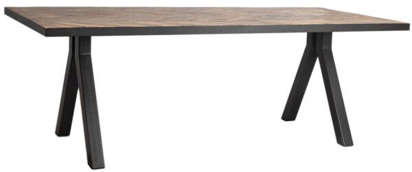 mango wood dining table with herringbone design
