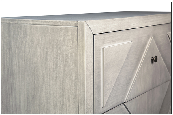 tall grey wash wood dresser close up