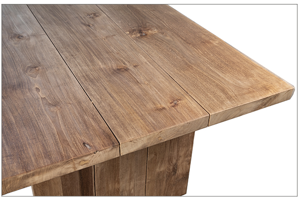 Large teak dining table outdoor close up