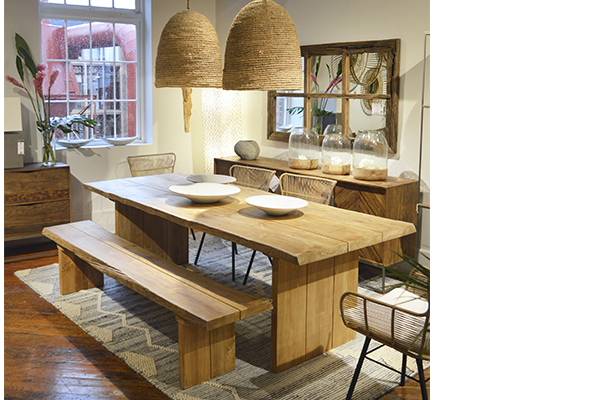Large teak dining table outdoor seen in dining room setting