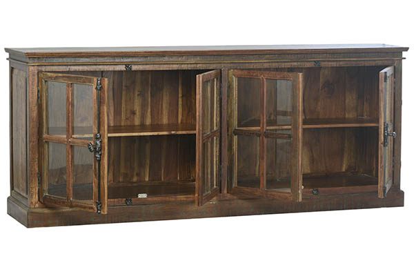 distressed wood glass cabinet with open doors