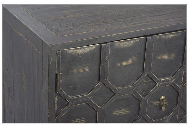 distressed black wood sideboard close up