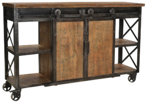 Industrial Delano Wood and Iron Console Cart