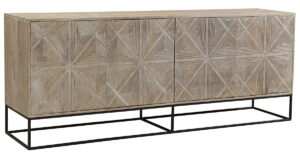 84″ Carved Mango Wood and Iron Sideboard
