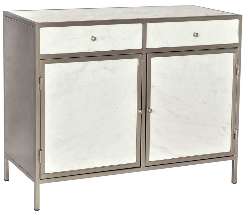 White Marble & Iron Cabinet