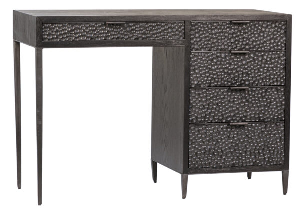 Black wood and iron desk with 5 drawers