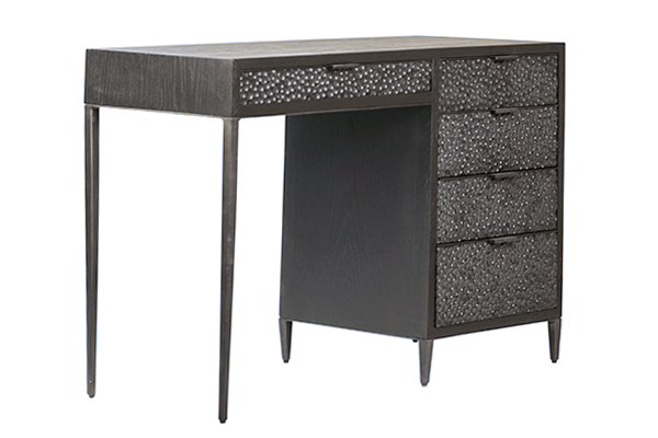 Black wood and iron desk with 5 drawers side view