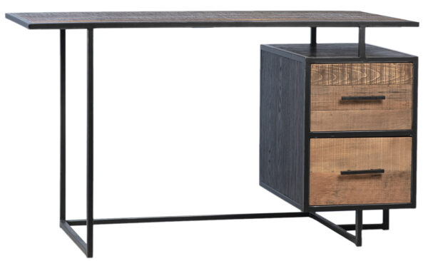 Wood and iron base desk with 2 drawers