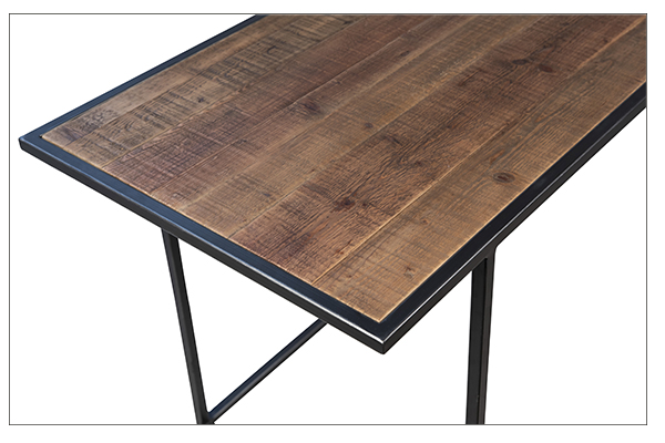 Wood and iron base desk with 2 drawers close up