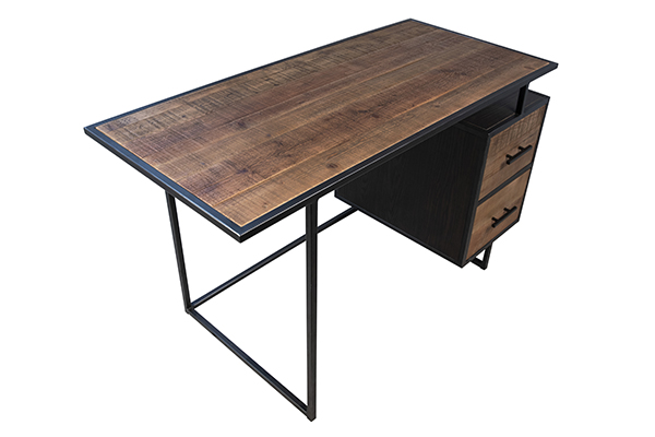 Wood and iron base desk with 2 drawers view of top