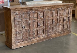 92″ Solid Teak Cabinet with Vintage Indian Doors
