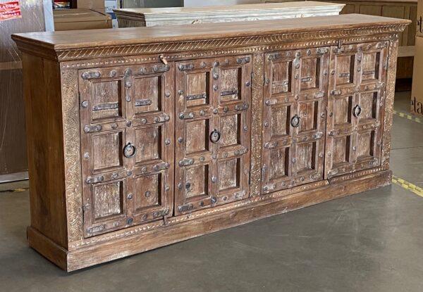 Large teak sideboard cabinet with 4 vintage Indian doors in medium brown finish