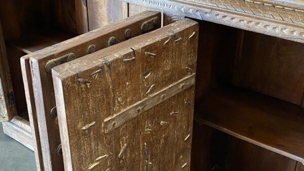 Large teak sideboard cabinet with 4 vintage Indian doors in medium brown finish door detail