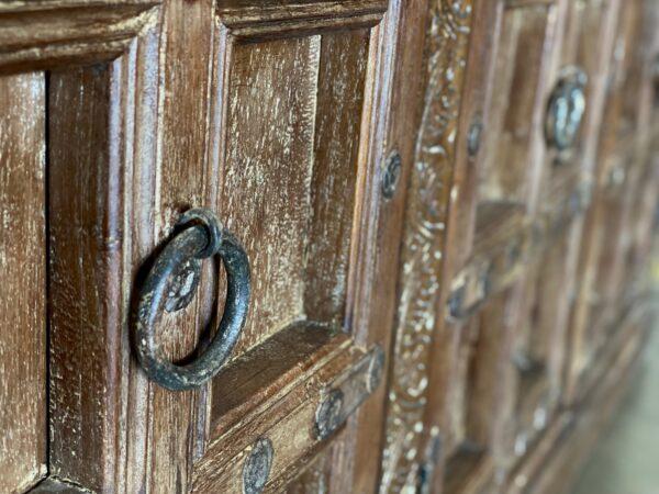 Large teak sideboard cabinet with 4 vintage Indian doors in medium brown finish door detal