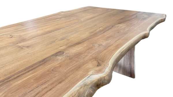 natural wood tone live edge dining table side view