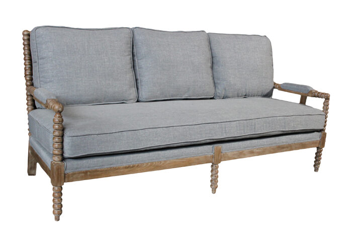 Grey Linen Upholstered Sofa with Wood Spindled Frame