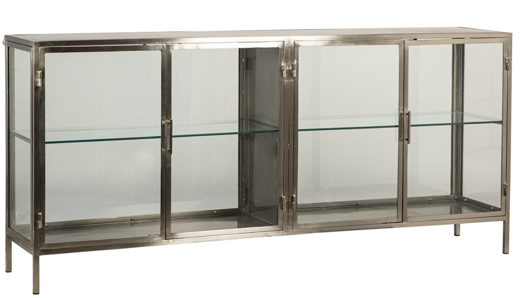 76″ Silver Iron & Glass Sideboard