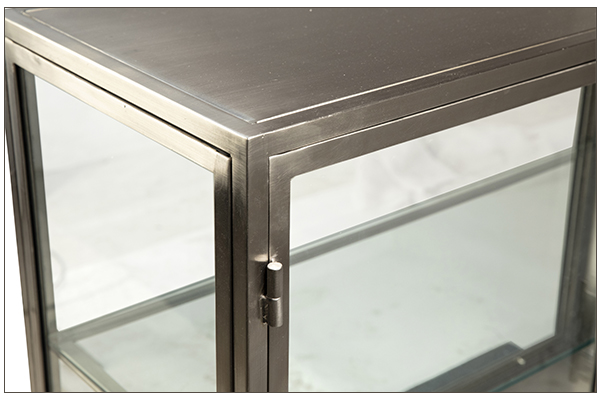 Silver iron and glass cabinet 4 door close up