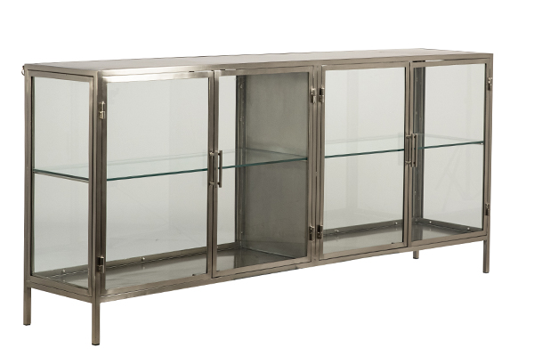 Silver iron and glass cabinet 4 door