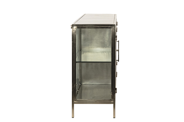 Silver iron and glass cabinet 4 doors side view