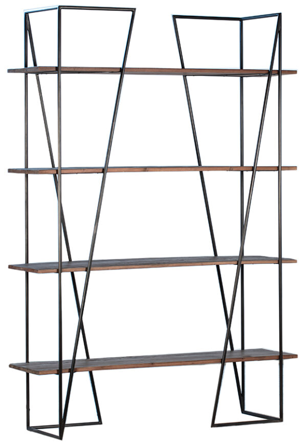 Reclaimed wood and iron bookcase