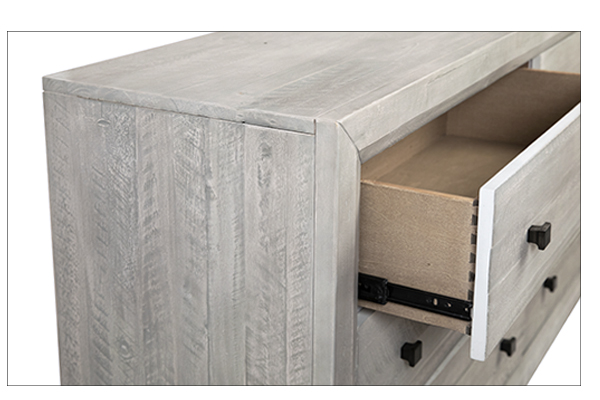 white wash wood dresser with open drawer