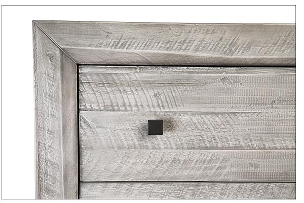 white wash wood dresser close up