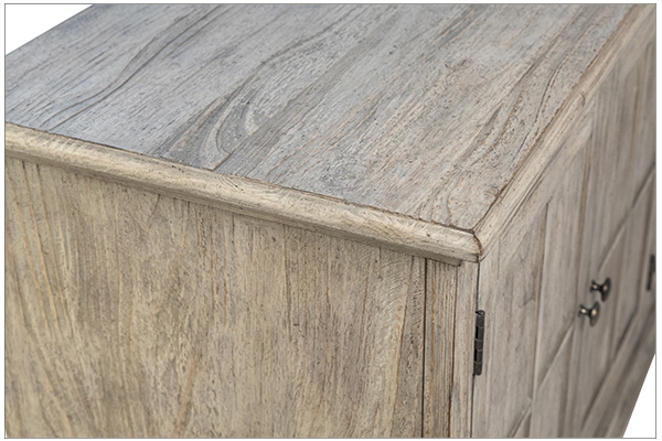 weather grey wood sideboard close up