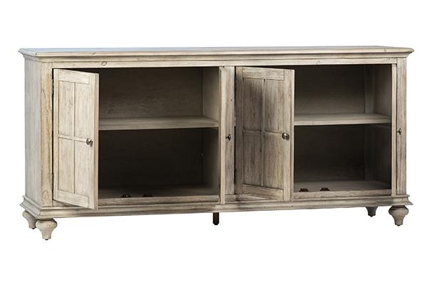 weather grey wood sideboard with open doors