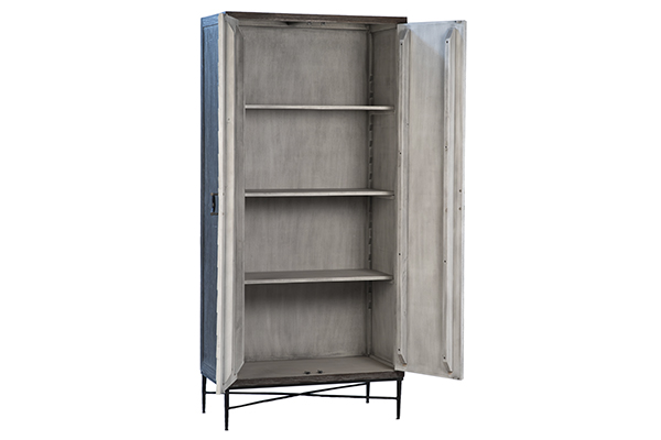 tall reclaimed wood and iron cabinet with open doors
