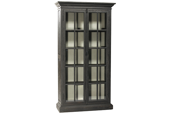 tall black glass cabinet