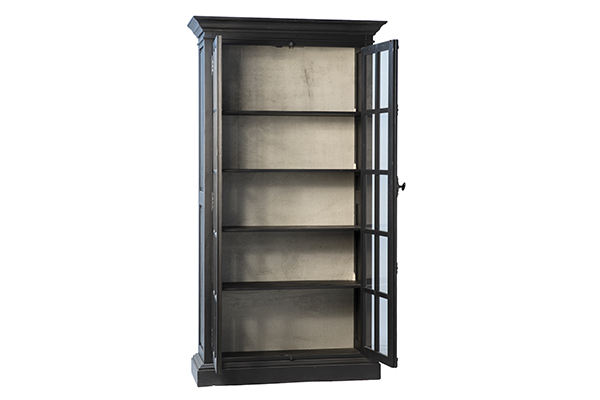 tall black glass cabinet with open doors