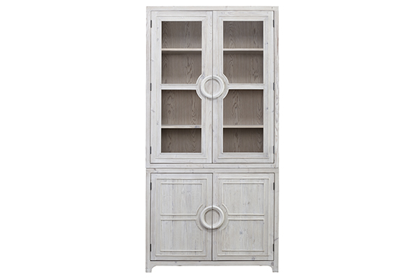 tall whitewash cabinet front view