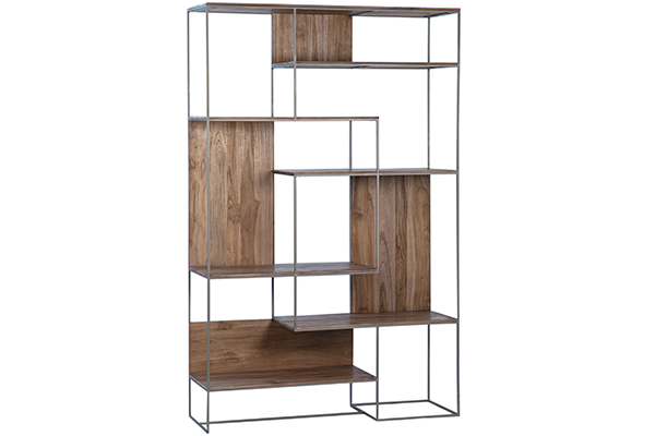 75″ Tall Addax Teak and Metal Bookcase