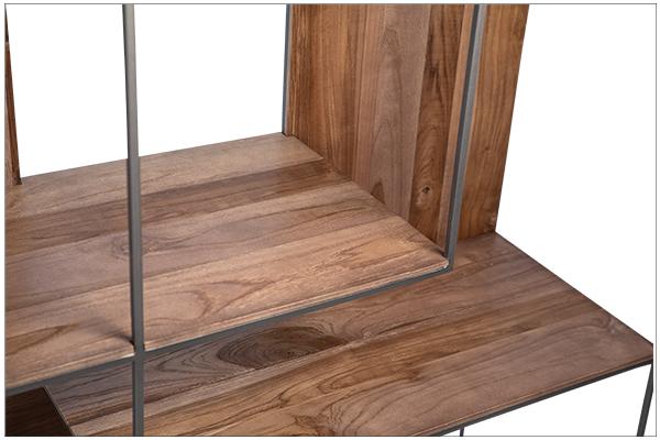 reclaimed wood and iron bookshelf close up