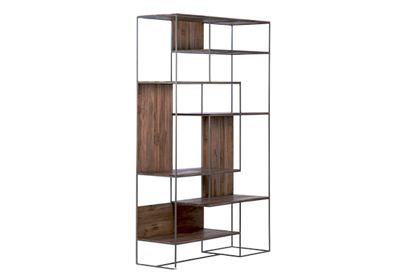reclaimed wood and iron bookshelf side view