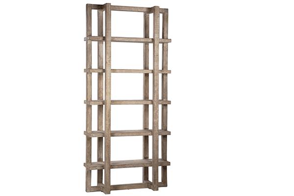 Hancock Tall White Wash Wood Bookshelf