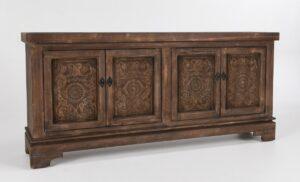 82″ Amita Misty Mocha Carved Wood Sideboard
