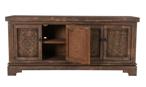 carved wood sideboard with open doors