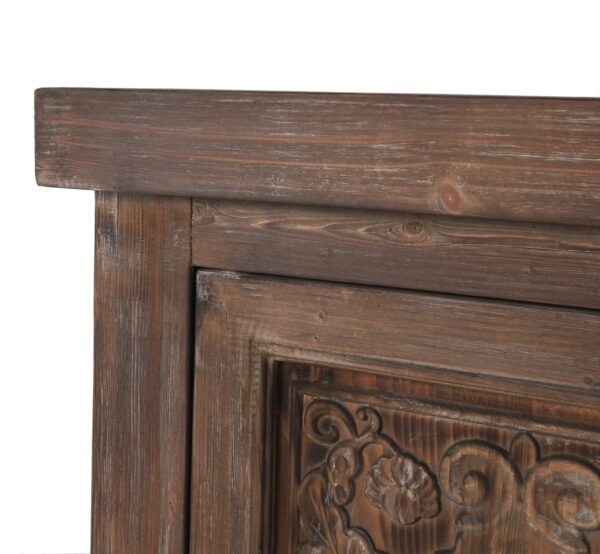 carved wood sideboard close up