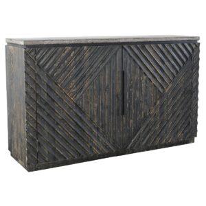 70″ Reclaimed Wood & Stone Top Sideboard