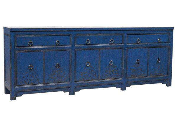 distressed blue sideboard