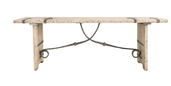 Whitewash pine wood console table with iron details front view