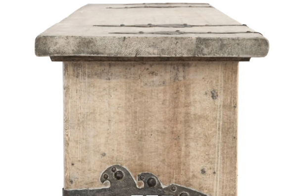 Whitewash pine wood console table with iron details side view