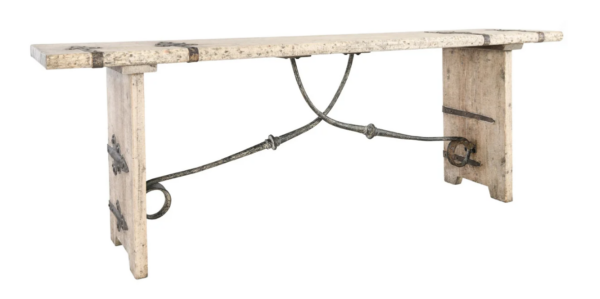 Whitewash pine wood console table with iron details
