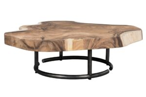 Live Edge Coffee Table with Iron Base