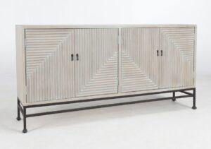 Finn White Wash Wood and Iron Sideboard