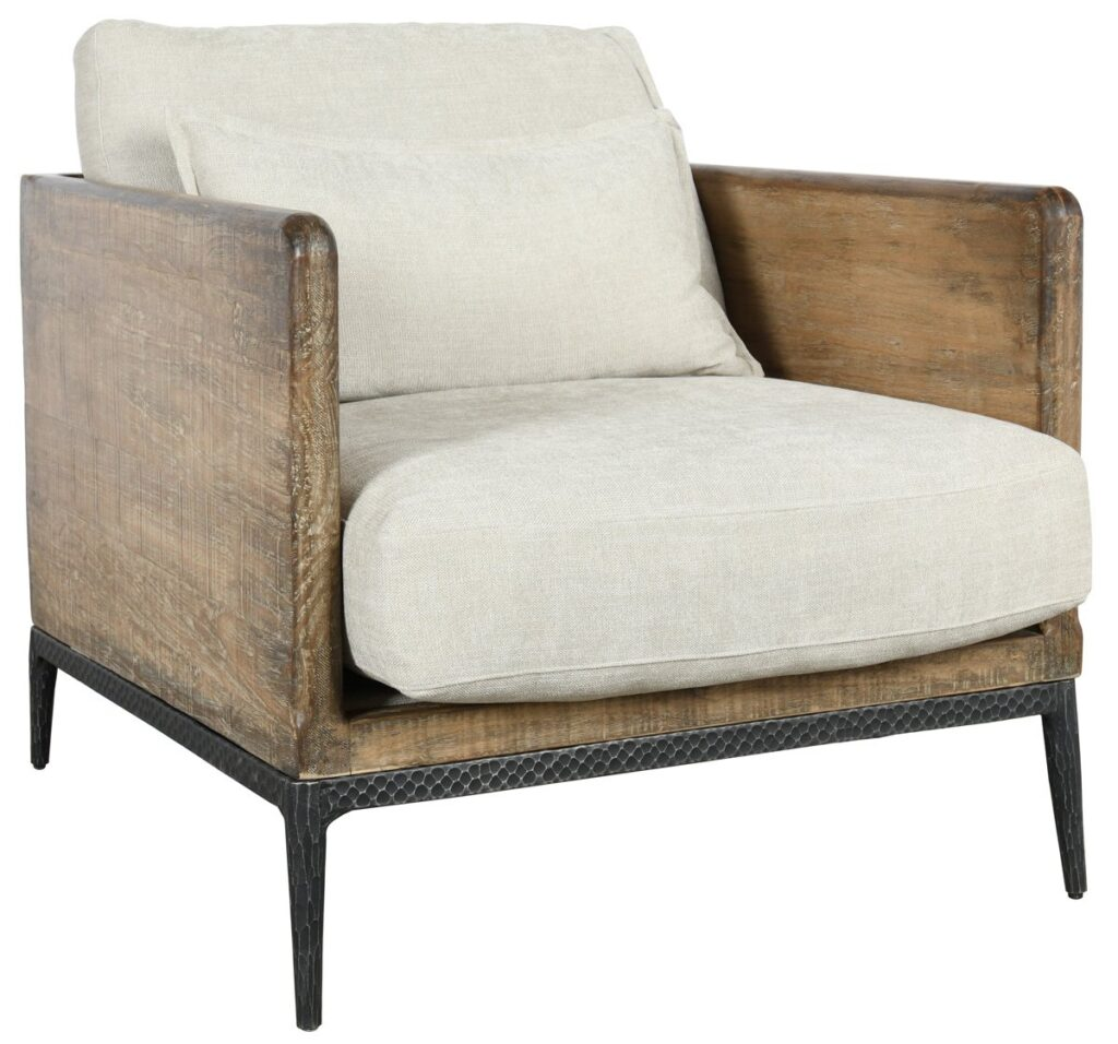 Set of 2 Renfrow Upholstered Ivory Wood Club Chair
